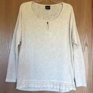 Soft Cream Top/Tunic with Crochet Detail